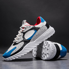 WHOHOLL Man Casual Shoes Lace-up Sneakers Training Shoes Mesh Patchwork Zapatos Para Correr pu patchwork lace up sneakers