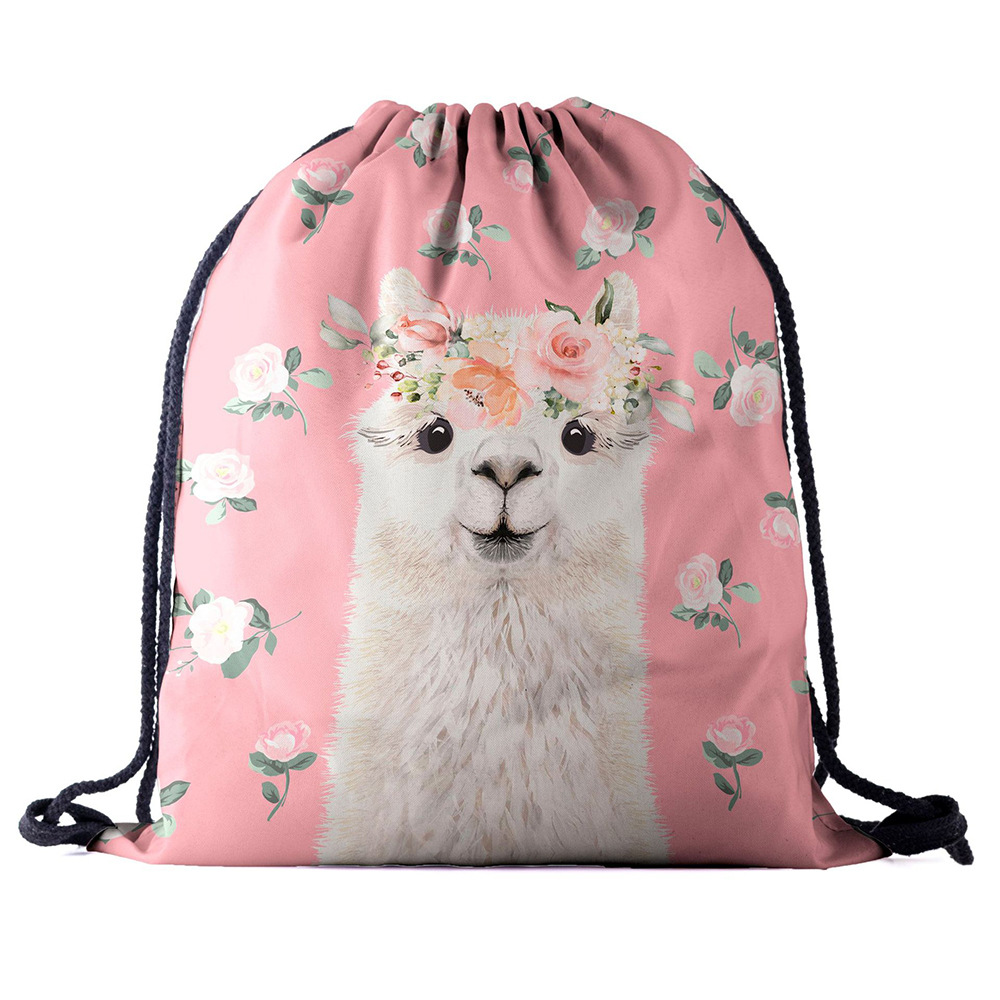 Backpack Drawstring  Bag 3D Printing Alpaca Women Men Daily Casual Girl's Mochila Knapsack Feminina Bundle Pocket Rope Bags New