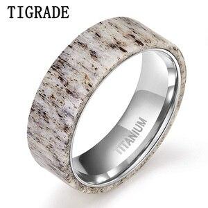 Image 1 - Tigrade 2019 חדש טבעי צבי קרן צבי טיטניום טבעת גברים נשים חתונת אירוסין בנד מיוחד עיצוב שיש אצבע anillo hombre