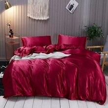 3 Pcs/set 100% pure satin silk bedding set,Home Textile King size bed set,bedclothes,duvet cover flat sheet pillowcases