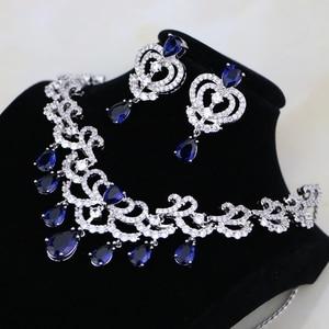 Image 2 - Su damlası mavi kübik zirkonya beyaz CZ kadınlar gümüş renk takı düğün küpe kolye kolye setleri