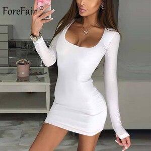 Image 2 - Forefair Manica Lunga Sexy Vestito Aderente Donne 2019 Club Autunno di Base Solido Collo Quadrato Bianco Rosso Nero Donna Mini Vestito inverno