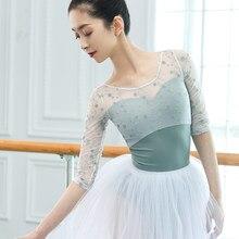 Collant de dança adulto ginástica collant meia manga maiô para dança bailarina flora collant u volta collants de balé para mulher