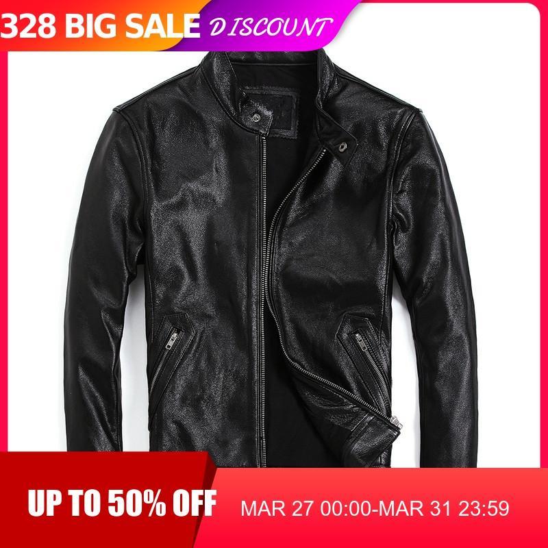 2020 Black Men Slim Fit Motorcycle Leather Jacket Stand Collar Plus Size XXXXL Genuine Cowhide Spring Biker's Leather Coat