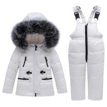 Children Thicken Down Jacket Set Winter Short Infant Hooded Bib  Boys Girls Waterproof Clothing Set Of Two Suit Baby Warm Coat стоимость