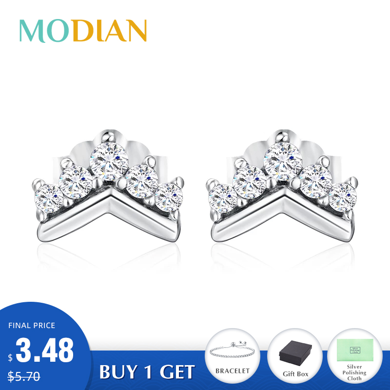 Modian 2020 Hot 100% 925 Sterling Silver Simple Clear CZ Crown Charm Stud Earrings For Women Cute Party Christmas Gift Jewelry