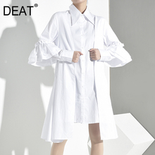 DEAT 2019 New Summer And Autumn Turn-down Collar Flare Sleeves Ruffles Pleated Patchwork Shirt
