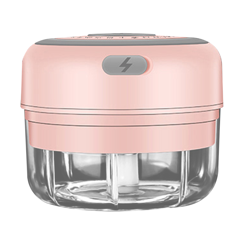 100ml-pink-2 blade-Electric Garlic Crusher Food Shredder Smart USB Baby Food Supplement Machine