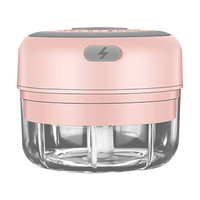 100ml-pink-2 blade-Electric Garlic Crusher Food Shredder Smart USB Baby Food Supplement Machine