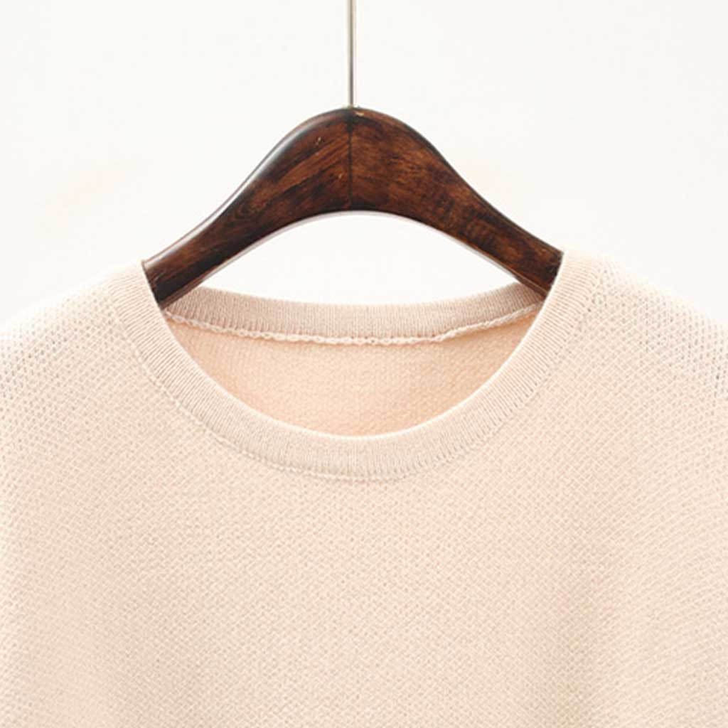 Jaycosin Fashion Women Casual Simple Solid Color Round Neck Stripe Sweater Stylish Comfortable Elegant Pullover Top Blouse