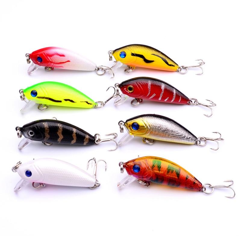 Рыболовные приманки Minnow, 5 см, 4,2 г, 3D глаза, пластиковая жесткая наживка, воблеры с 10 # крючками, искусственные японские приманки, рыболовные снасти|Наживки|   | АлиЭкспресс