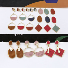 2pcs new design hot-sales temperament simple alloy leather hollow round geometric drop earring for women diy jewelry accessories