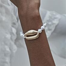 Ingemark Bohemian Cowrie Shell Jewelry Bracelets Bangle Women Party Punk Big Seashell Imitation Pearls Chain Adjustable Bracelet
