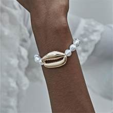 Ingemark Bohemian Cowrie Shell Perhiasan Gelang Bangle Wanita Pesta Punk Besar Kerang Mutiara Imitasi Rantai Adjustable Gelang(China)