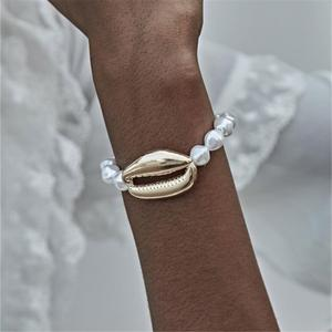 Ingemark Bohemian Cowrie Shell Jewelry Bracelets Bangle Women Party Punk Big Seashell Imitation Pearls Chain Adjustable Bracelet
