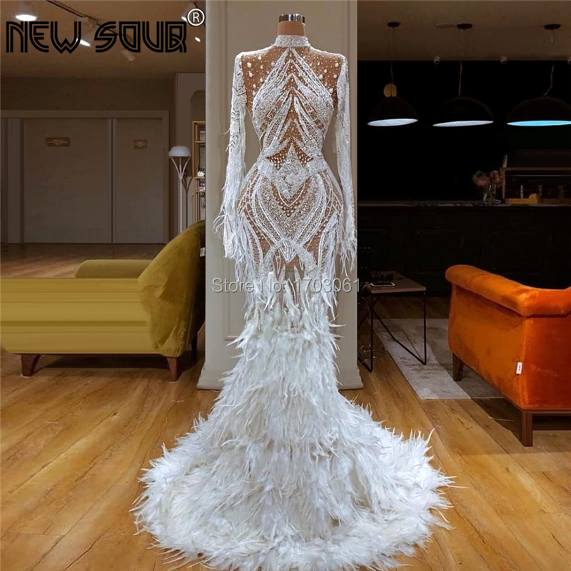 2020 Dubai Middle East Transparent Evening Dress Celebrity Prom Gowns Kaftans Islamic Aibye Beading Feathers Runaway Party Dress