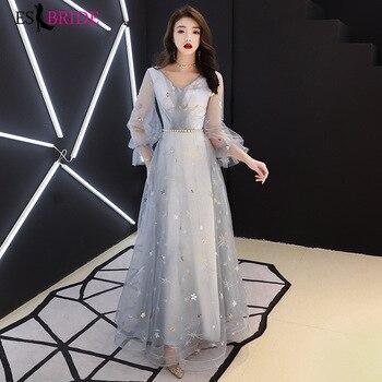 Formal Party Evening Dresses Long Grey Simple V-neck Full Sleeves Wedding Guest Gowns Elegant Abito Da Cerimonia ES30321
