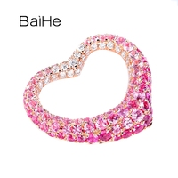 BAIHE Solid 18K Rose Gold 0.90ct Pink Sapphire 0.19ct H/SI Round Natural Diamonds Delicate pink sapphire diamond heart pendant