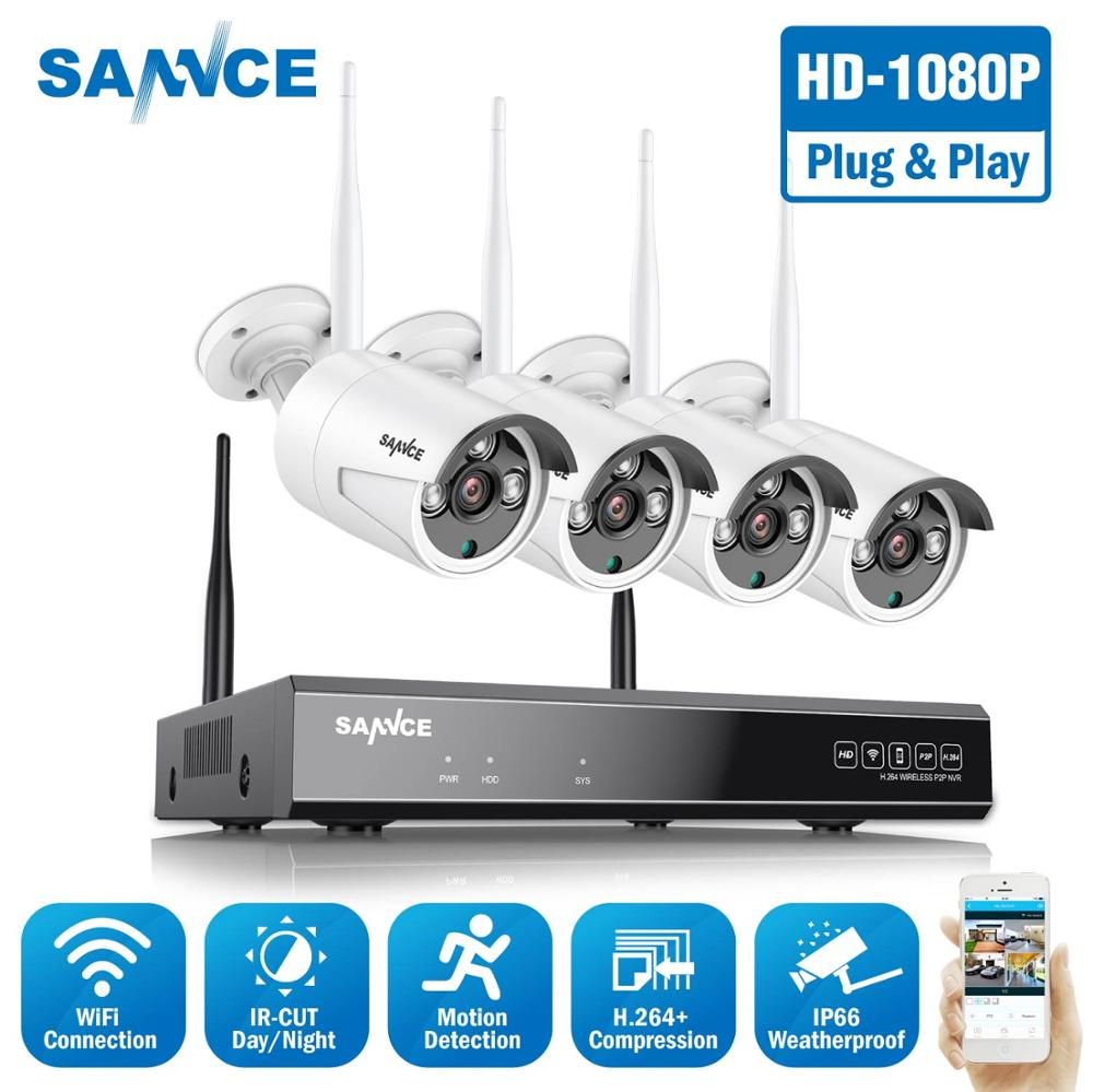 SANNCE 8CH HD 1080P Wireless Video Security System HDMI 1080P NVR With 4PCS 1080P Outdoor Weatherproof WIFI IP Camera CCTV Set image