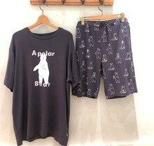2021 japão pique novo modal urso polar casal dos desenhos animados manga curta pijamas terno para homem e mulher homeswear vivendo casual wear