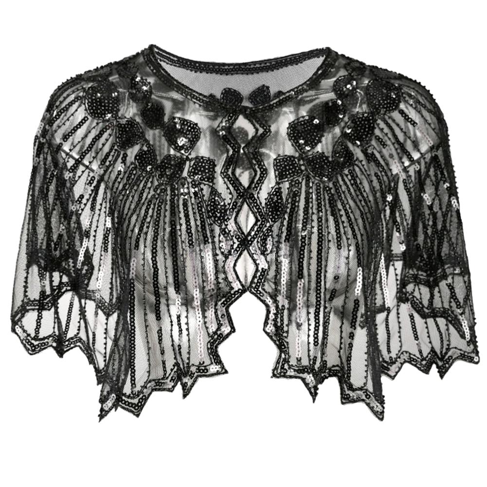 Sequin Cover Up Wrap Dancing Cape Women Shawl Evening Cape Flapper Tippet Cloak Fashion Party Art Deco Scarf