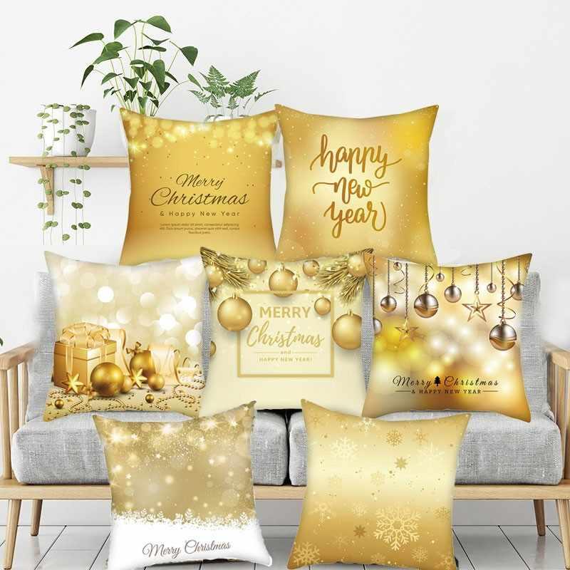 Altın mutlu noel yastık kılıfı Nordic kanepe minder kılıfı dekorasyon keten yastık örtüsü özel kişisel minder örtüsü