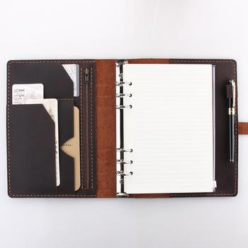Personalized A5 Refillable Ring Binder Leather Travel Notebook