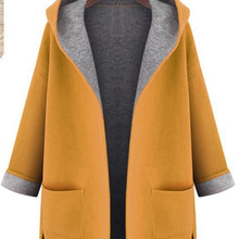 2020 European and American ladies' new monochrome cardigan woolen trench coat