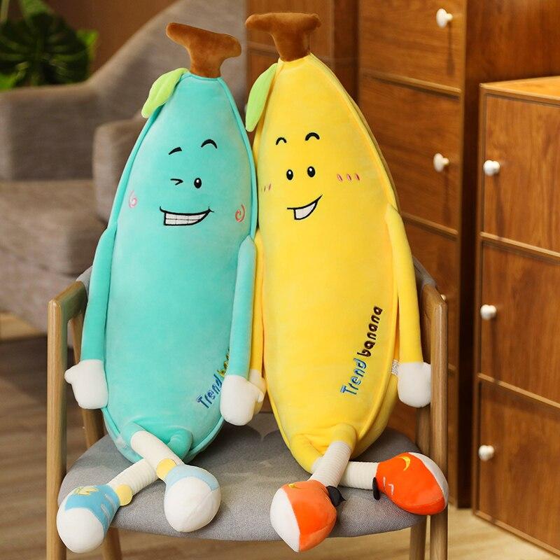 Jouets en peluche fruits bananes mignons 80-130CM, poupées doreiller de plantes en peluche douces pour enfants, coussin de sommeil, jouet cadeau danniversaire pour enfants