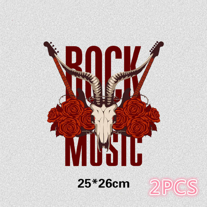 New Rock And Roll Hot Stamping Printing T-shirt Offset Hot Stamping Washable Film Heat Transfer