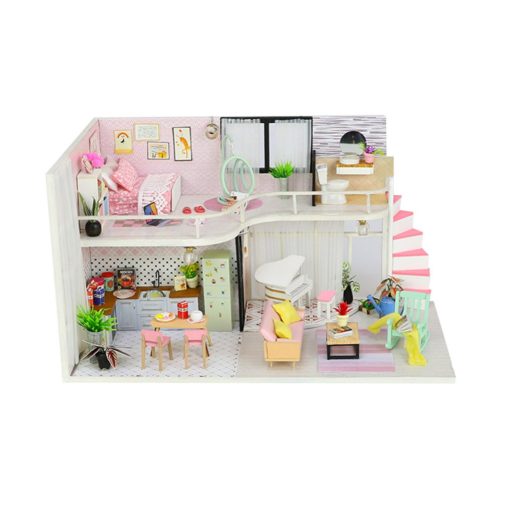 Dream Childhood Mini-house Anna's Pink Melody Wooden Hut Villa Assembly Model Exquisite Gift Kid Birthday Girl Gift