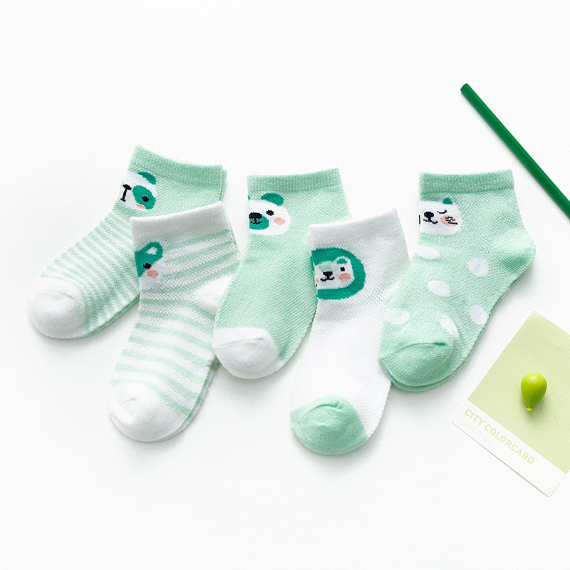 5 Pairs/Lot Baby Socks  For Newborns Infant Cute Cartoons Soft Cotton Socks Summer 0-24 Month Boy Girl Lovely Mesh Kids Gift CN 5