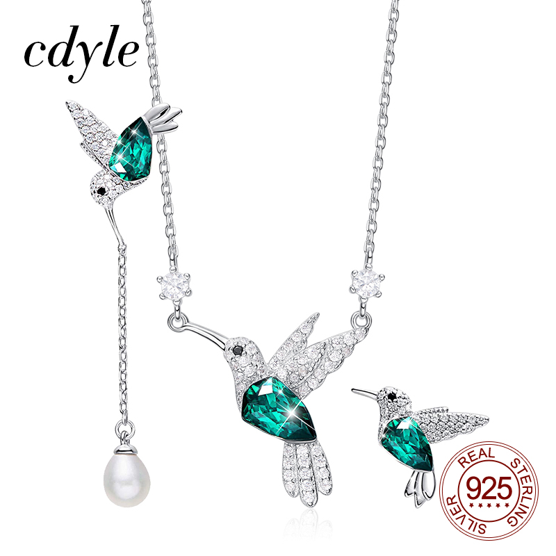 Cdyle 925 Sterling Silver Necklace Earrings Set with Green Austrian Crystal Hummingbird for Women Fine Jewelry Set Gift