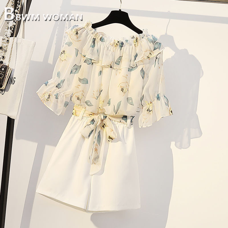 2019 Plus Size Summer Women Sets Leaf And Flower Blouse And White Shorts Female Sets