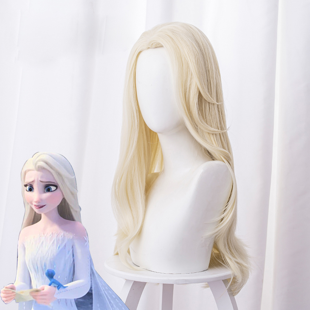 Movie Princess Elsa 2 Cosplay Wigs Snow Ice Queen Long Light Yellow Wavy Party Hairs Girls Women Gift