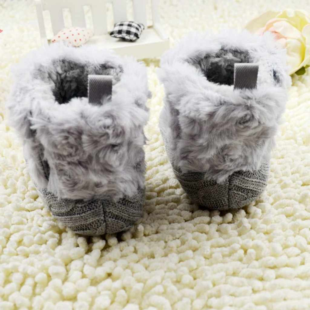 Newborn Baby Girl Boots Soft Fluff Snow Booties Solid Color Winter Shoes for Infant Toddler Warming Crib Shoes #BL5