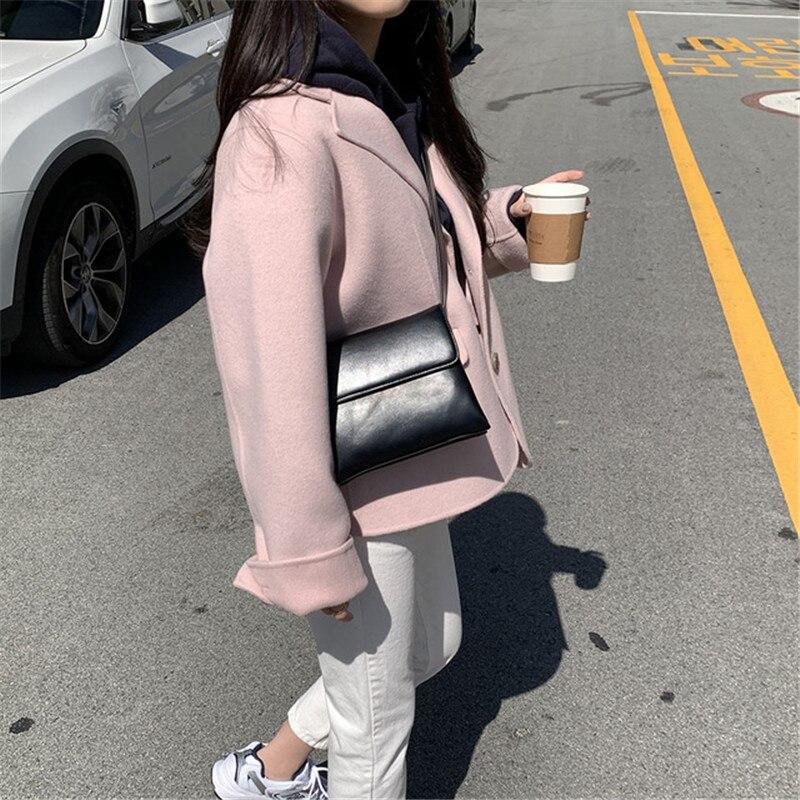 H89b70ca3e3bf4f279d3b62023671304az - Winter Korean Revers Collar Solid Woolen Short Coat