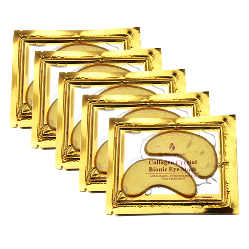 2 Pcs=1 Pair 24K Gold Crystal Collagen Eye Mask Eye Patches For Eye Care Dark Circles Remove Anti-Aging Wrinkle Skin Care