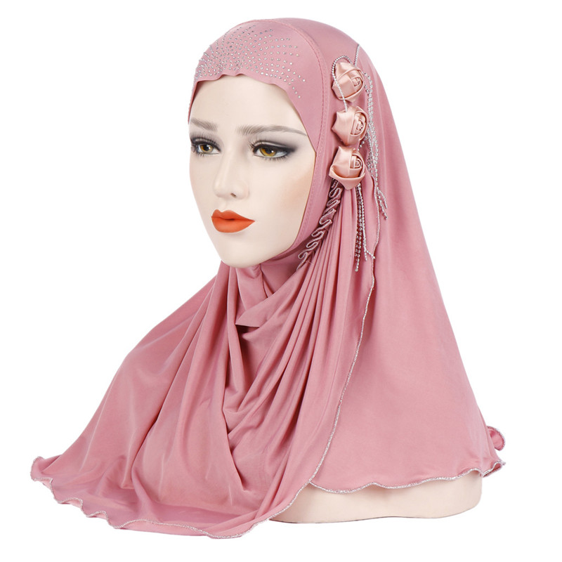 Malaysia Muslim Hijab Scarf Solid Cotton flower diamond shawl Women's Scarf
