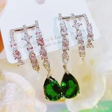 MENGJIQIAO Korean Elegant Green Waterdrop Crystal Drop Earrings For Women Girls Fashion 3 Line Zircon Oorbellen Jewelry Gifts