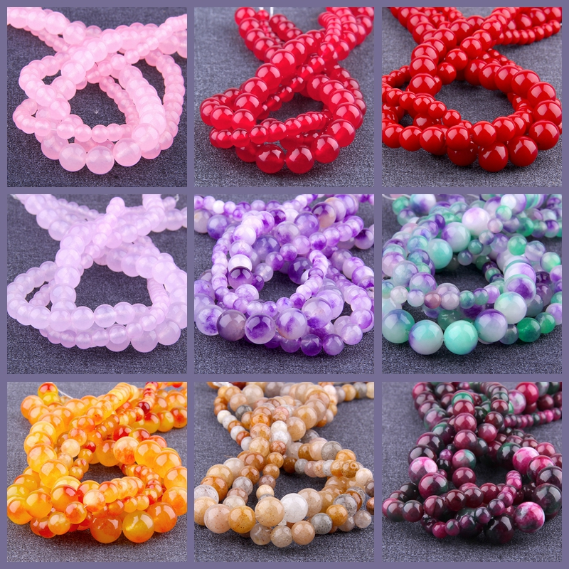 Natural A red purple pink jades beads smooth round spacer loose beads natural red Chalcedony stone bead for jewelry making diy