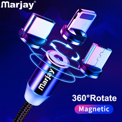 Marjay Magnetic Cable Fast Charging Micro USB Type C Cable For iPhone Samsung Xiaomi Mobile Phone Magnet Charger USB Cord Wire