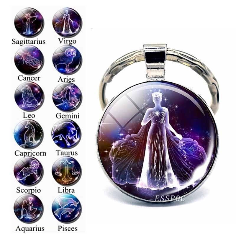 12 Constellation Keychain Key Ring Glass Cabochon Libra Aries Leo Virgo Zodiac Sign Key Chain Couple Gift