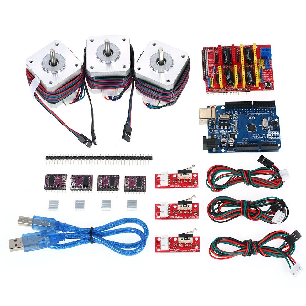 Arduino R3 Kit de démarrage CNC avec UNO + bouclier + moteur pas à pas DRV8825 butée finale A4988 GRBL