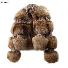 Oftbuy 2020 冬のジャケットの女性パーカー本物の毛皮のコート自然アライグマの毛皮のウールコートボンバージャケット韓国ストリート新特大