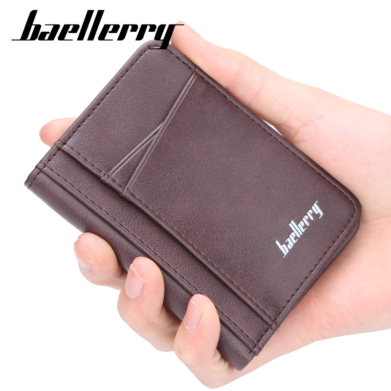Baellerry Vintage PU Leather Men's Short Wallets Credit Card Holder Luxury Brand Slim Purses High Quality Business Purses Male