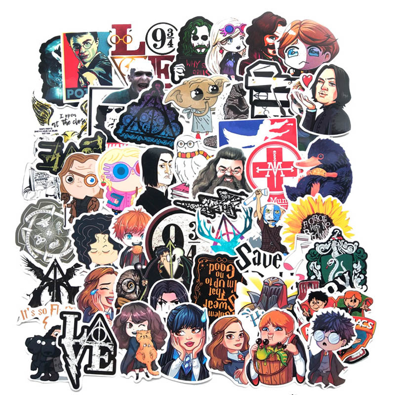 50 Pcs Stickers Harry Potter Cartoon Stickers Luggage Skateboard Laptop Sticker Refrigerator Stationery Waterproof Stickers