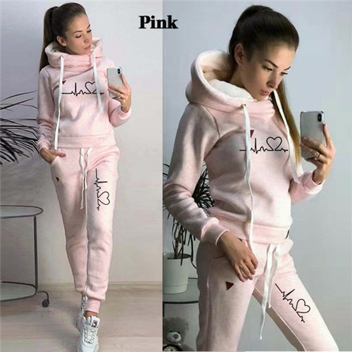 Women Tracksuit Pullovers Hoodies and Black Pants Autumn Winter Suit Female Solid Color Casual Full Length Trousers Outfits 2021 18
