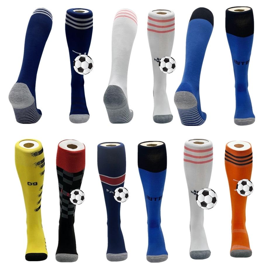 Спортивные футбольные носки для взрослых, детские дышащие толстые носки для бега и футбола, Длинные чулки до колена, Нескользящие Клубные н...