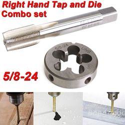 5/8 24 UNEF ręcznie dotknij i okrągły zestaw ze stopu stali nierdzewnej prawo strony dotykając narzędzie do cięcia ręcznego w Tap & Die od Narzędzia na